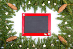 Frame from fir-tree branches and toys Stock Photography