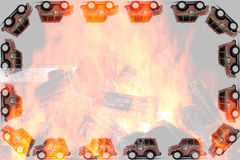 Frame of Fireman toys car Royalty Free Stock Photo
