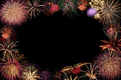 Frame of fireworks. Isolated on Black Stock Photography