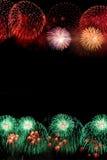Frame of fireworks. Vertical frame of colorful fireworks stock photo