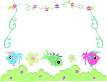 Frame of Fish, Bushes, Flowers, and Vines Royalty Free Stock Images