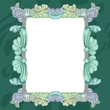 Frame with fish. Green frame with fish and blue shell stock illustration