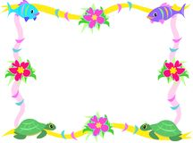 Frame of Fish, Hibiscus, and Sea Turtles Stock Image