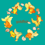 Frame with fish and shells Royalty Free Stock Images