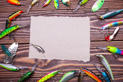 Frame of fishing lures Royalty Free Stock Images