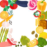 Frame of flat designed organic food. Stock Photos