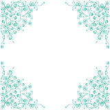 Frame with flora corner decoration template design in blue. Stock Photos