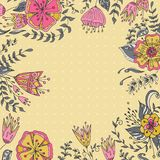 Frame floral background. Retro flowers made in . Cute flowers. Royalty Free Stock Photos