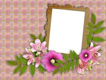Frame and floral beautiful bouquet. Abstract background with frame and floral beautiful bouquet royalty free illustration