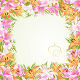 Frame floral border festive background with blooming lilies and buds vintage vector Illustration for use in interior design, artwo. Rk, dishes, clothing Royalty Free Stock Photography