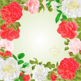 Frame floral border festive background with blooming roses and buds vintage vector Illustration for use in interior design, artwor. K, dishes, clothing Stock Photos