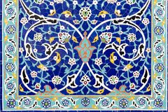 Frame of floral ceramic decoration. Colorful mosaic wallpaper. royalty free stock image