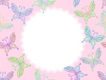 Frame floral cor-de-rosa do laço com borboletas Fotografia de Stock Royalty Free
