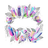 Frame floral and crystals vector Royalty Free Stock Photography