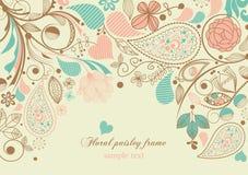 Frame floral de paisley Foto de Stock Royalty Free