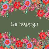 Frame floral do vetor Composição com flores B colorido floral ilustração royalty free