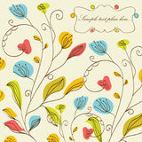 Frame floral do vintage com flores ilustração royalty free