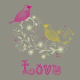 Frame floral do vintage com pássaros ilustração do vetor