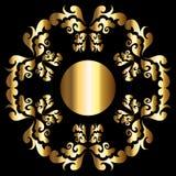 Frame floral dourado ilustração royalty free