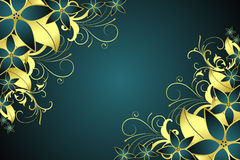 Frame floral dourado ilustração stock