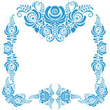 Frame of floral elements. Vector frame in gzhel Royalty Free Stock Photos
