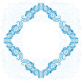 Frame of floral elements. Vector frame in gzhel Stock Photos