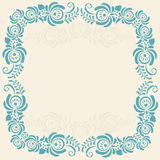 Frame of floral elements. Vector frame in gzhel Royalty Free Stock Photo
