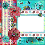 Frame floral gasto da foto ou fundo de Scrapbooking Foto de Stock