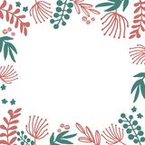 Frame floral hand drawn illustrations set in doodle style with flowers and leaves on white backdrop. royalty free illustration