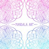 Frame with floral mandalas. Ethnic Indian patterns, frame with floral mandalas pink and blue colored, vector art, can be used for greeting card, invitation royalty free illustration