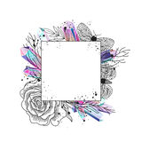 Frame floral, moths and crystals vector Royalty Free Stock Photo