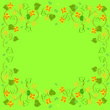 Frame floral ornament with leaves. On green background vector illustration