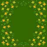 Frame floral ornament with leaves. On green background stock illustration