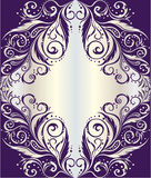 Frame with floral ornament on silver background Royalty Free Stock Image