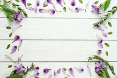 Frame from a floral pattern of lilac on a white wooden background.Top view.Flat lay.Holiday concept.Copy space royalty free stock images
