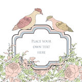 Frame. Floral spring card. Birds and  flowers decoration Royalty Free Stock Photo