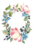 Frame floral Uma grinalda de rosas da aquarela Aperfeiçoe para convites do casamento e cartões de aniversário Foto de Stock Royalty Free