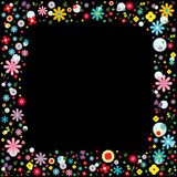 Frame floral vector on black background Stock Photo