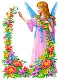 Frame flower. Ornamental, from various flowers. The girl - the fairy Royalty Free Stock Images