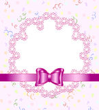 frame of flower with bow Stock Photos