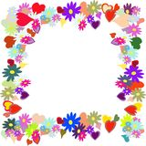 Frame with flower and heart royalty free stock photos