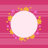 Frame with flower spring on pink backgrounds. Vector art Royalty Free Stock Photography