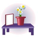 Frame and flower vase Stock Photos