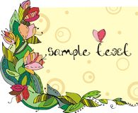 Frame with flowers. Flowers frame with butterfly and text Royalty Free Stock Photography