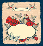 Frame with flowers, birds and heart. Frame with roses, birds and butterflies on a beige polka dot background Royalty Free Stock Photo