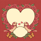 Frame with flowers, birds and heart. Frame with roses, birds, butterflies and heart on a red polka dot background Stock Photos