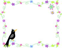 Frame of Flowers, Black Bird and Butterflies Royalty Free Stock Photos