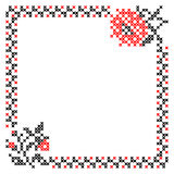 Frame with flowers and border. Red black patterns on canvas. Embroidery Stock Photography