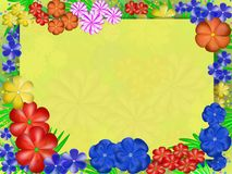 Frame with flowers in bright colors. Yellow frame with flowers in bright colors Stock Image