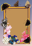 Frame with flowers and butterflies Royalty Free Stock Images